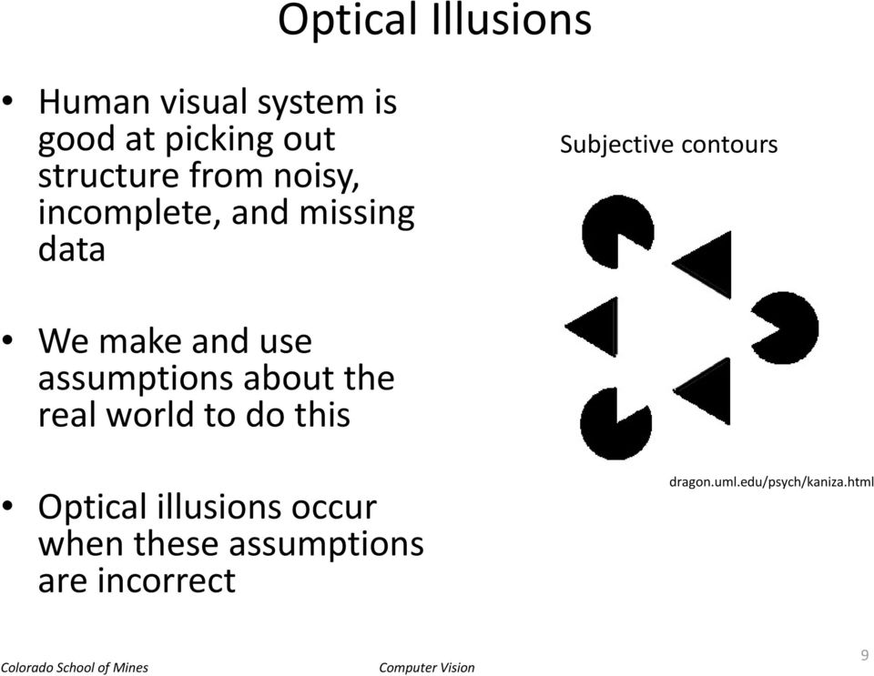 and use assumptions about the real world to do this Optical illusions