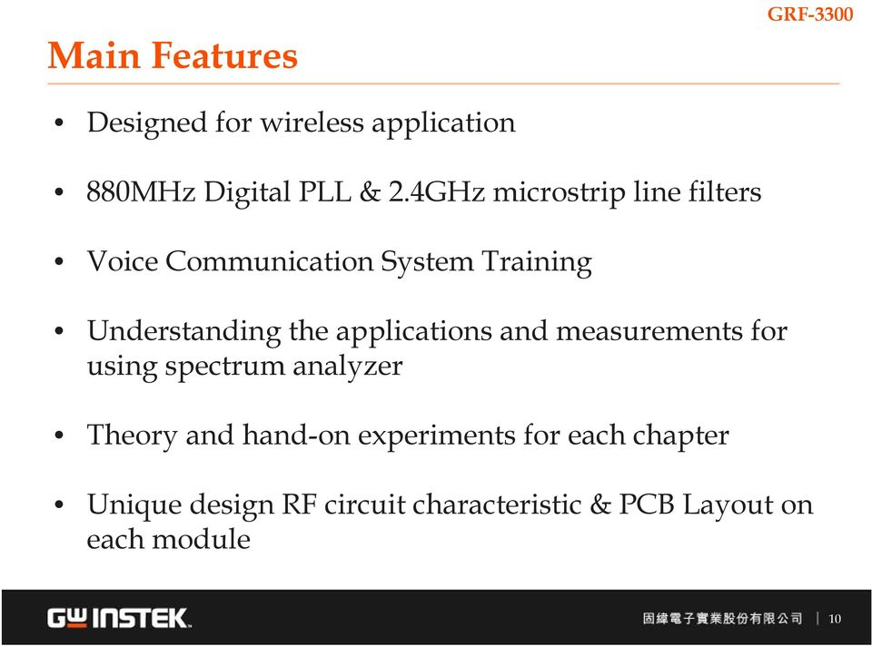 the applications and measurements for using spectrum analyzer Theory and hand-on