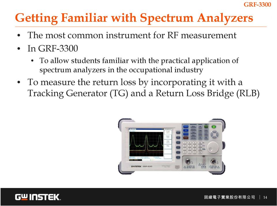spectrum analyzers in the occupational industry To measure the return loss by