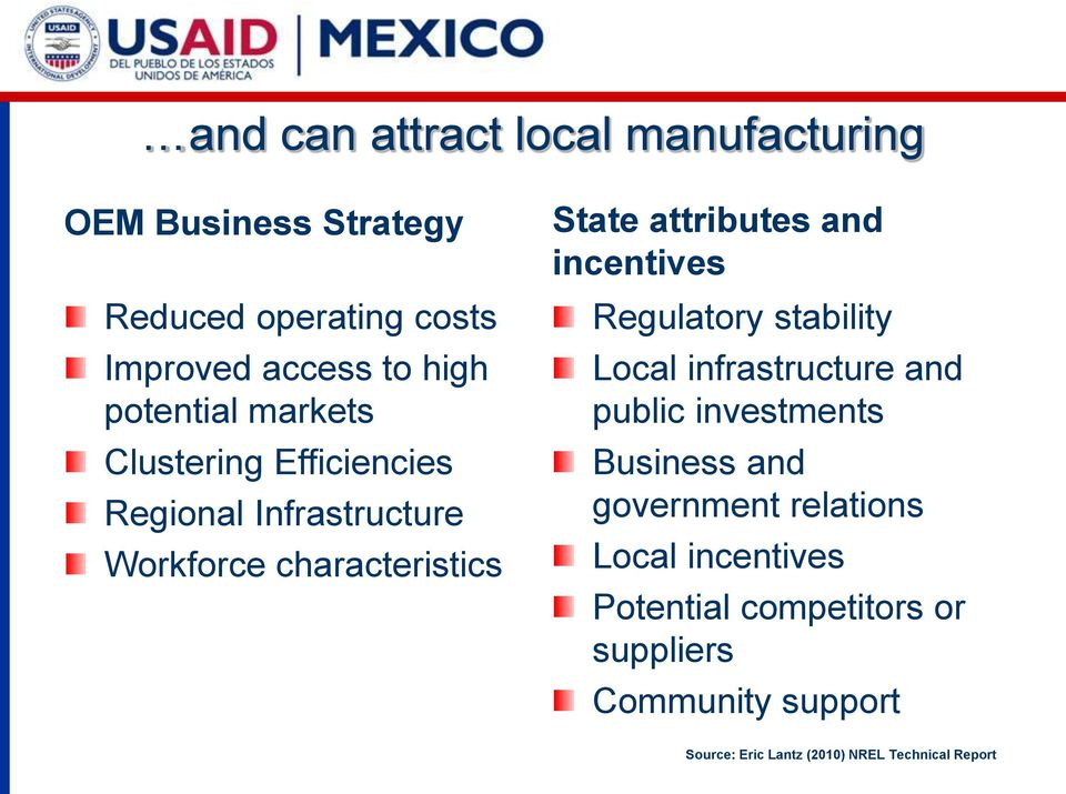 and incentives Regulatory stability Local infrastructure and public investments Business and government