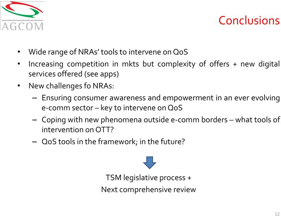 ever evolving e-comm sector key to intervene on QoS Coping with new phenomena outside e-comm borders what tools of