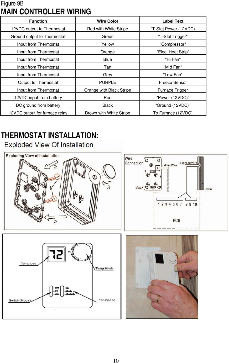 "Heat Strip"" Input from Thermostat Blue ""Hi Fan"" Input from Thermostat Tan ""Mid Fan"" Input from Thermostat Grey ""Low Fan"" Output to Thermostat PURPLE Freeze Sensor Input"