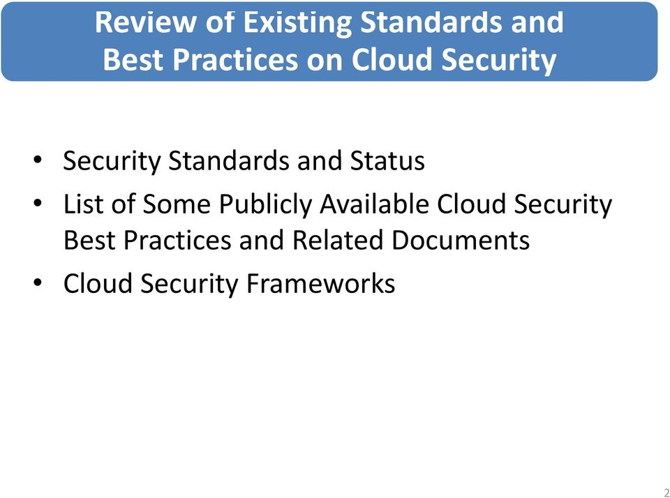 of Some Publicly Available Cloud Security Best