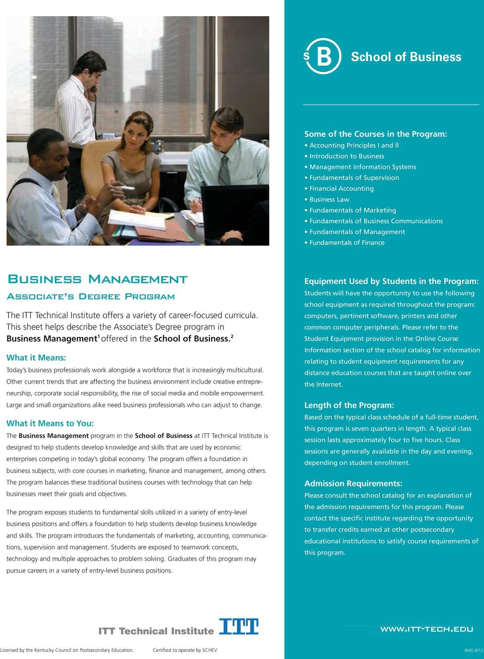 This sheet helps describe the Associate s Degree program in 1 offered in the School of Business.