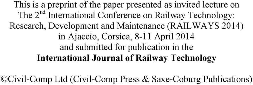 in Ajaccio, Corsica, 8-11 April 2014 and submitted for publication in the International