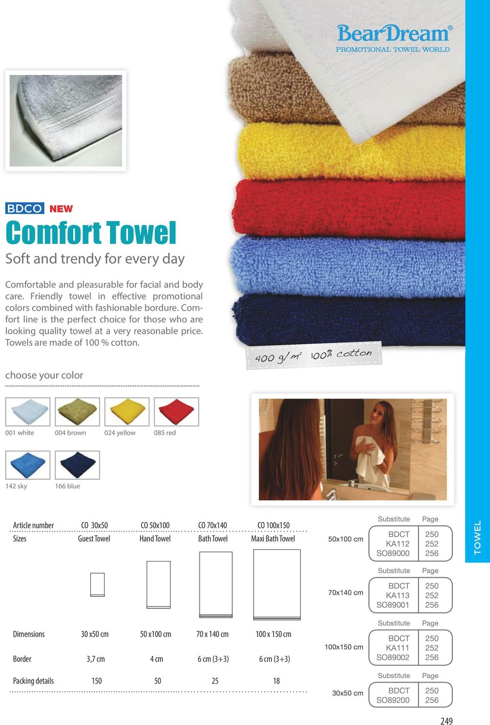 choose your color 400 g/m 2 100% cotton 001 white 004 brown 024 yellow 085 red 142 sky 166 blue Article number CO 30x50 CO 50x100 CO 70x140 CO 100x150 Sizes Guest Towel Hand Towel Bath Towel