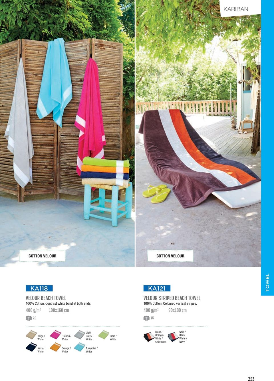 400 g/m 2 100x160 cm KA121 VELOUR STRIPED BEACH TOWEL 100% Cotton.