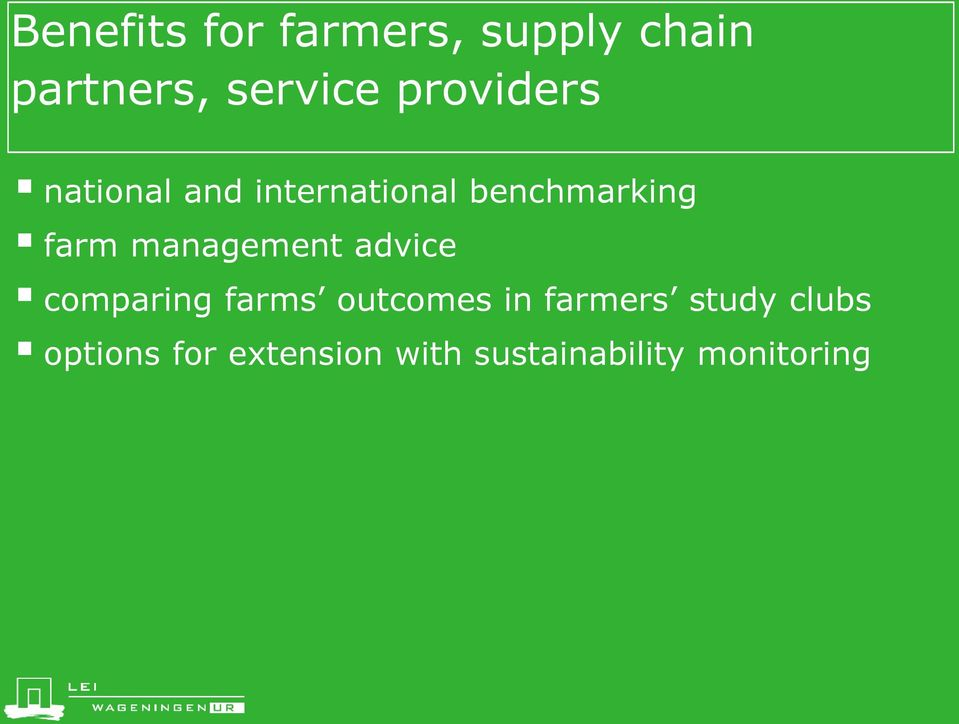 management advice comparing farms outcomes in farmers