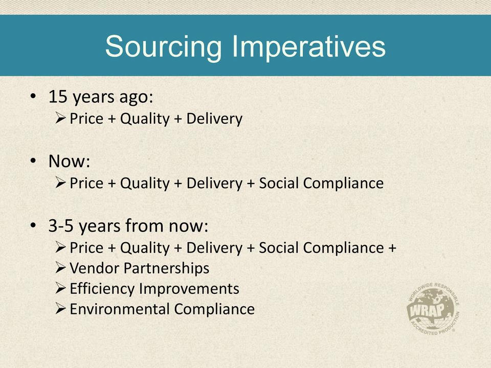 from now: Price + Quality + Delivery + Social Compliance +