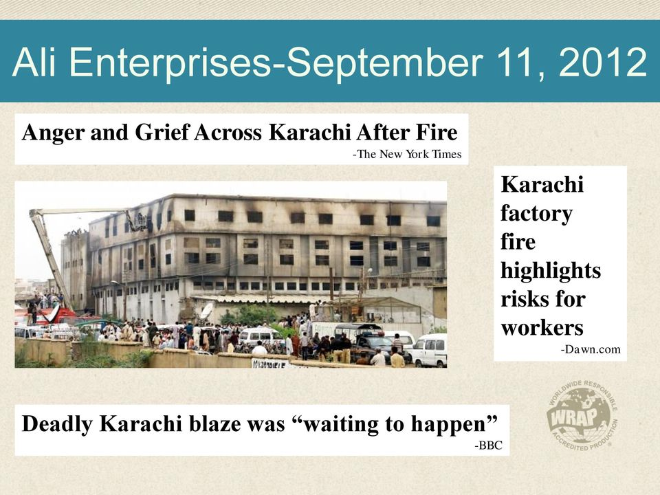 Karachi factory fire highlights risks for workers