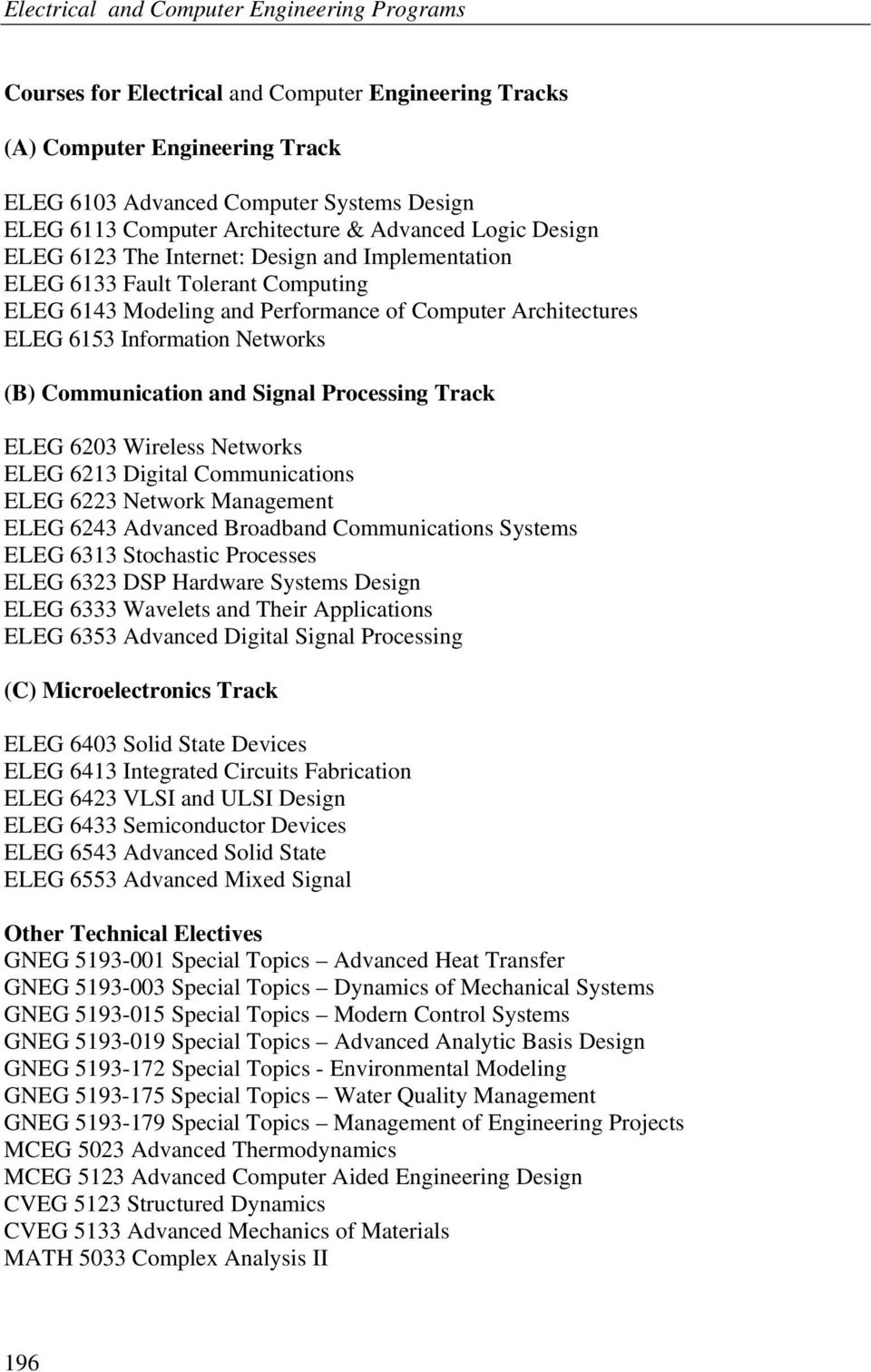 Processing Track ELEG 6203 Wireless Networks ELEG 6213 Digital Communications ELEG 6223 Network Management ELEG 6243 Advanced Broadband Communications Systems ELEG 6313 Stochastic Processes ELEG 6323