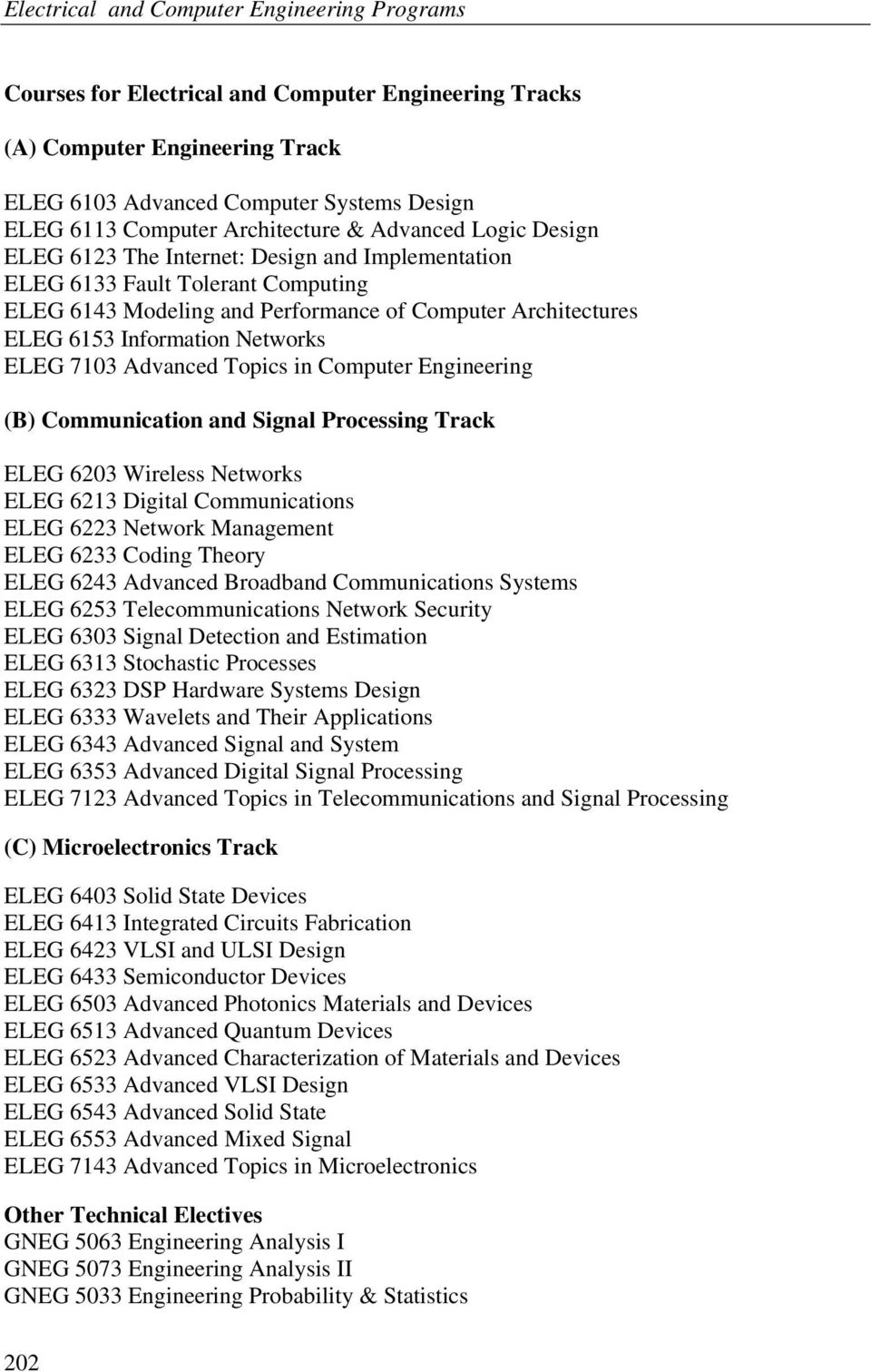 Computer Engineering (B) Communication and Signal Processing Track ELEG 6203 Wireless Networks ELEG 6213 Digital Communications ELEG 6223 Network Management ELEG 6233 Coding Theory ELEG 6243 Advanced