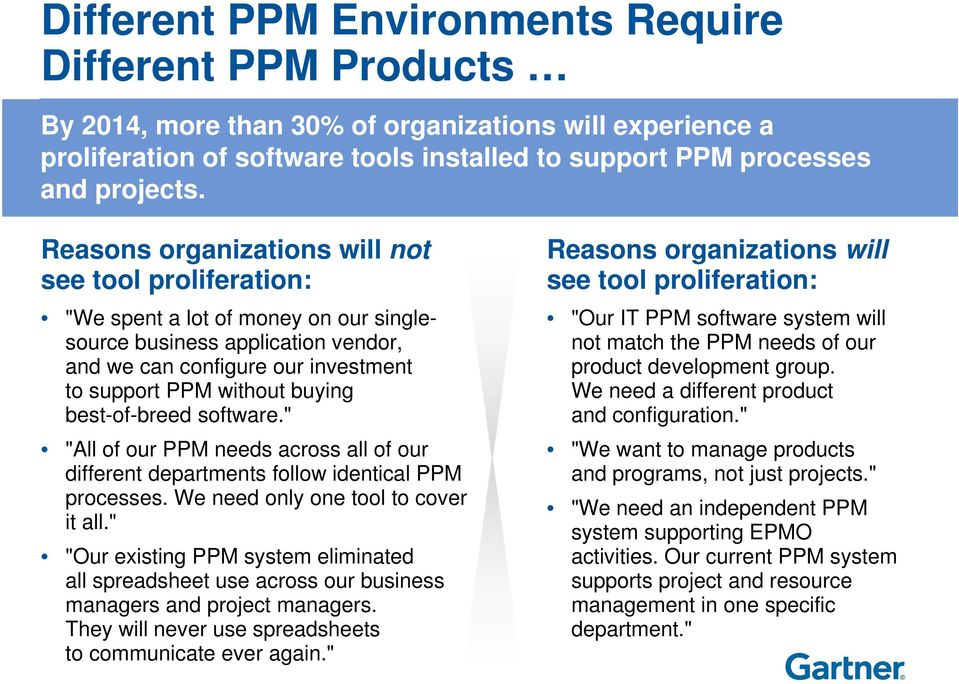 "best-of-breed software."" ""All of our PPM needs across all of our different departments follow identical PPM processes. We need only one tool to cover it all."