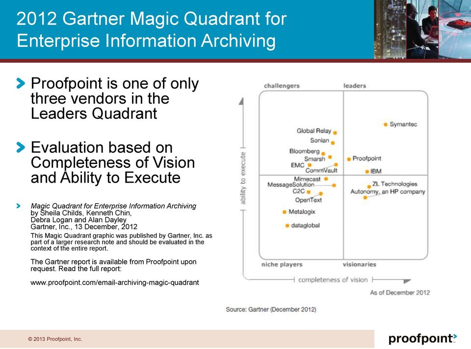 Dayley Gartner, Inc., 13 December, 2012 This Magic Quadrant graphic was published by Gartner, Inc.