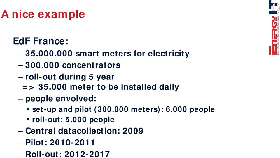 000 meter to be installed daily people envolved: set-up and pilot (300.