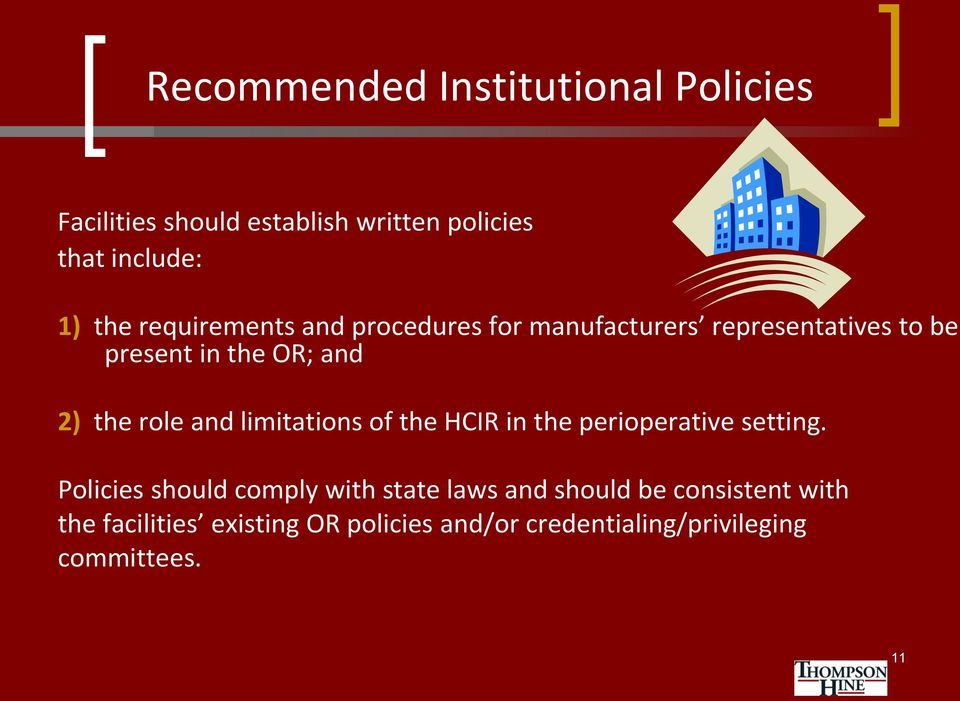 and limitations of the HCIR in the perioperative setting.