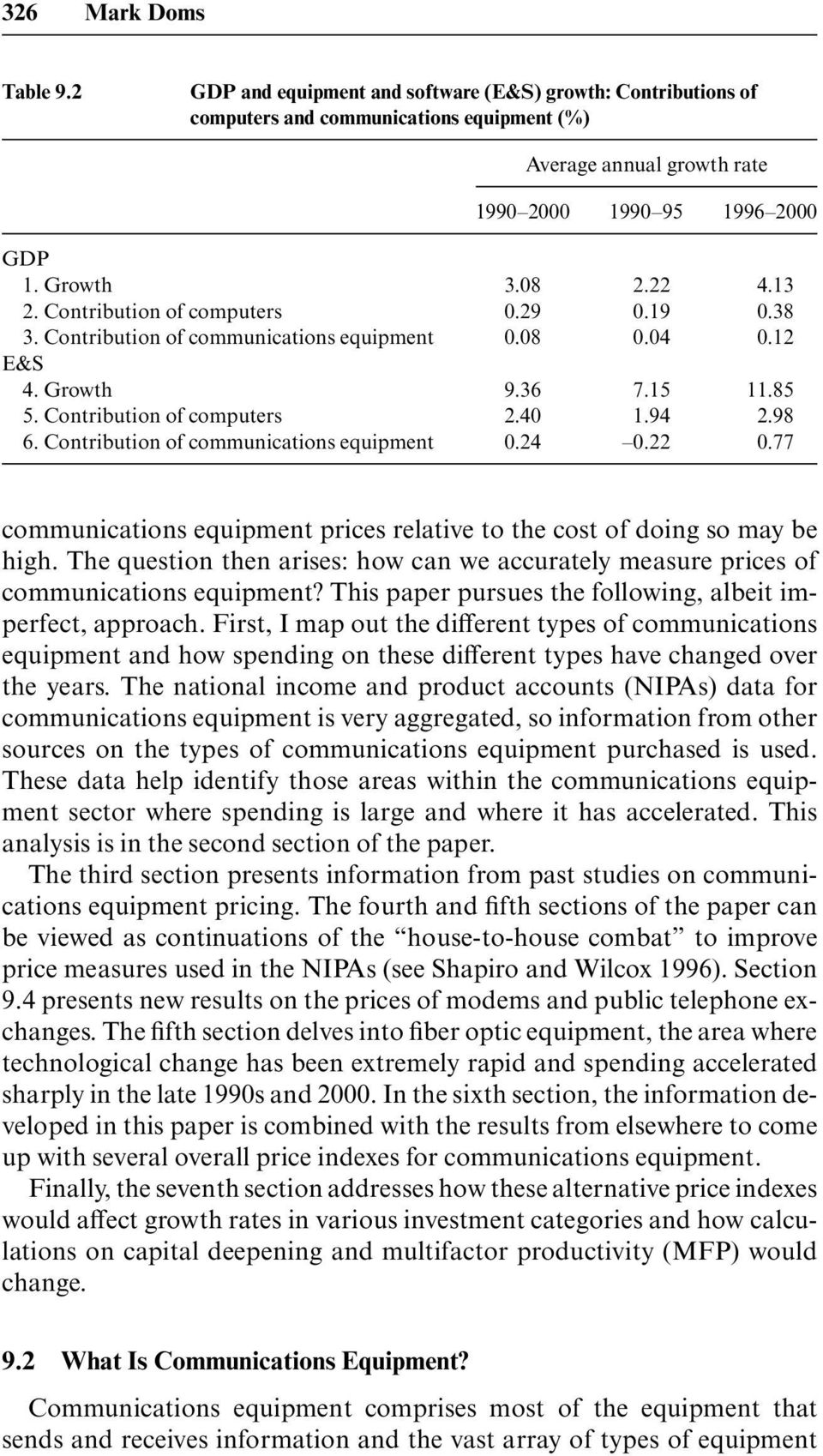Contribution of communications equipment 0.24 0.22 0.77 communications equipment prices relative to the cost of doing so may be high.