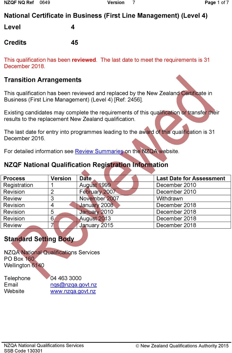 Transition Arrangements This qualification has been reviewed and replaced by the New Zealand Certificate in Business (First Line ) (Level 4) [Ref: 2456].