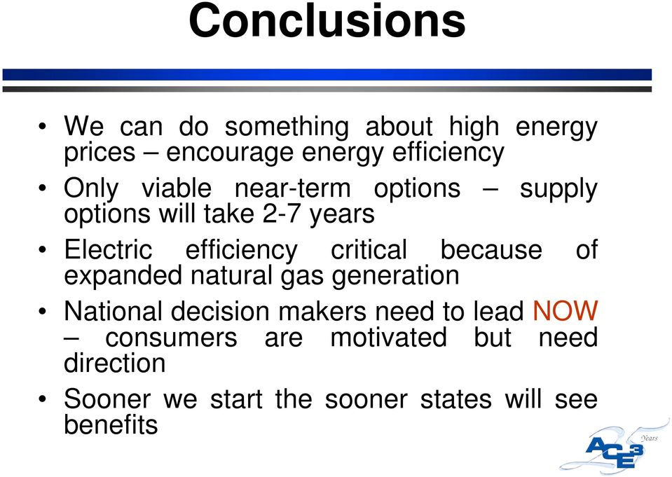 because of expanded natural gas generation National decision makers need to lead NOW
