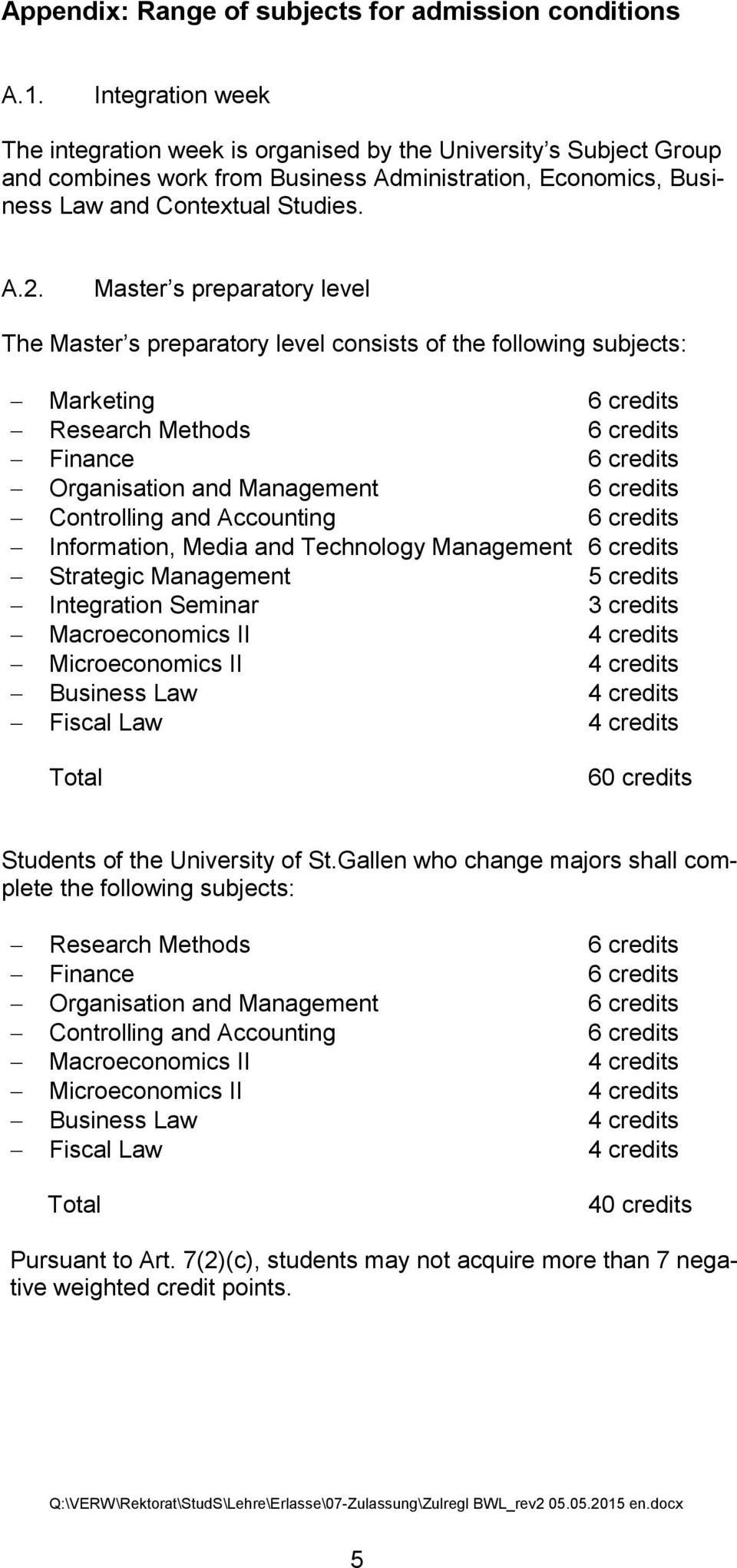 Master s preparatory level The Master s preparatory level consists of the following subjects: Marketing 6 credits Research Methods 6 credits Finance 6 credits Organisation and Management 6 credits