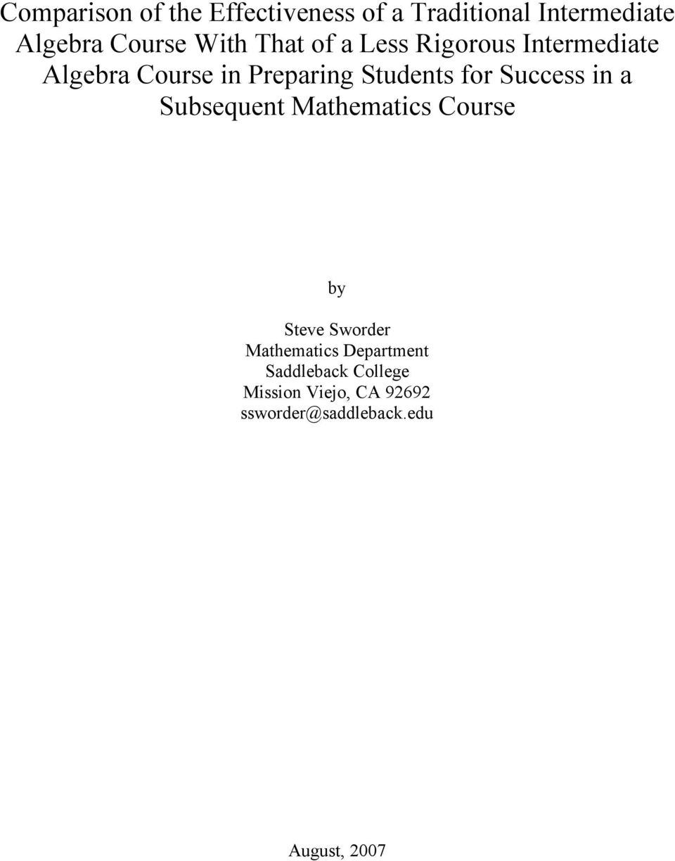 for Success in a Subsequent Mathematics Course by Steve Sworder Mathematics