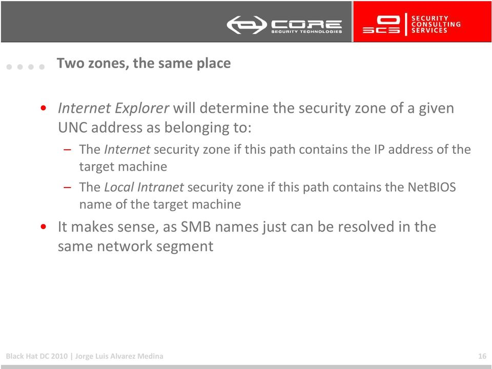 Local Intranetsecurity zone if this path contains the NetBIOS name of the target machine It makes sense,