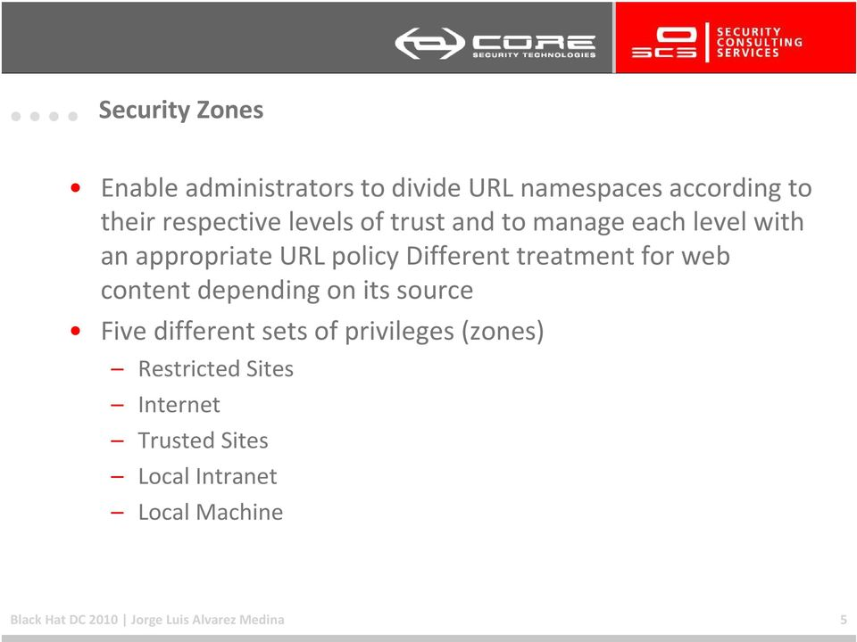 for web content depending on its source Five different sets of privileges (zones) Restricted