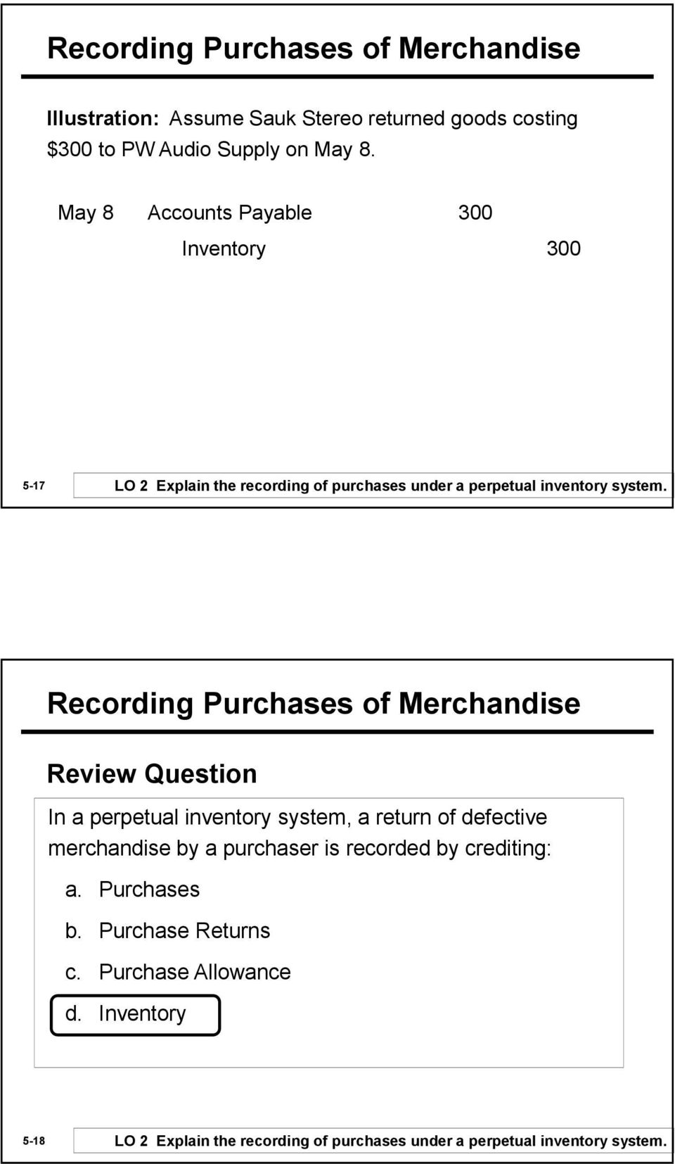 Recording Purchases of Merchandise Review Question In a perpetual inventory system, a return of defective merchandise by a purchaser is