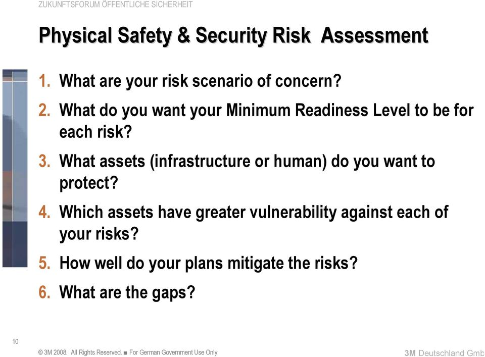 What assets (infrastructure or human) do you want to protect? 4.
