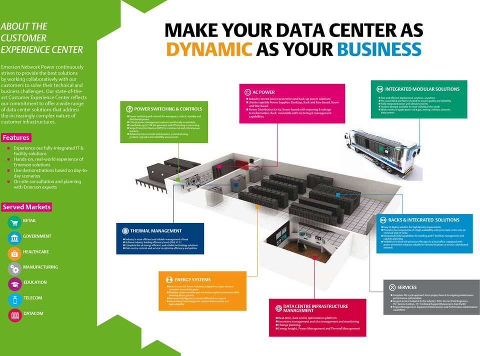 Our state-of-theart Customer Experience Center reflects our commitment to offer a wide range of data center solutions that address the increasingly complex nature of customer infrastructures.