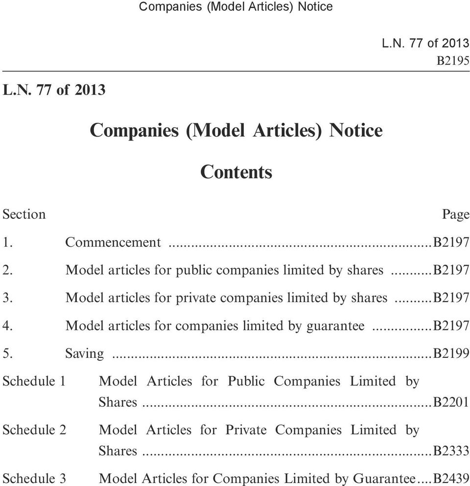 Model articles for companies limited by guarantee...b2197 5. Saving.