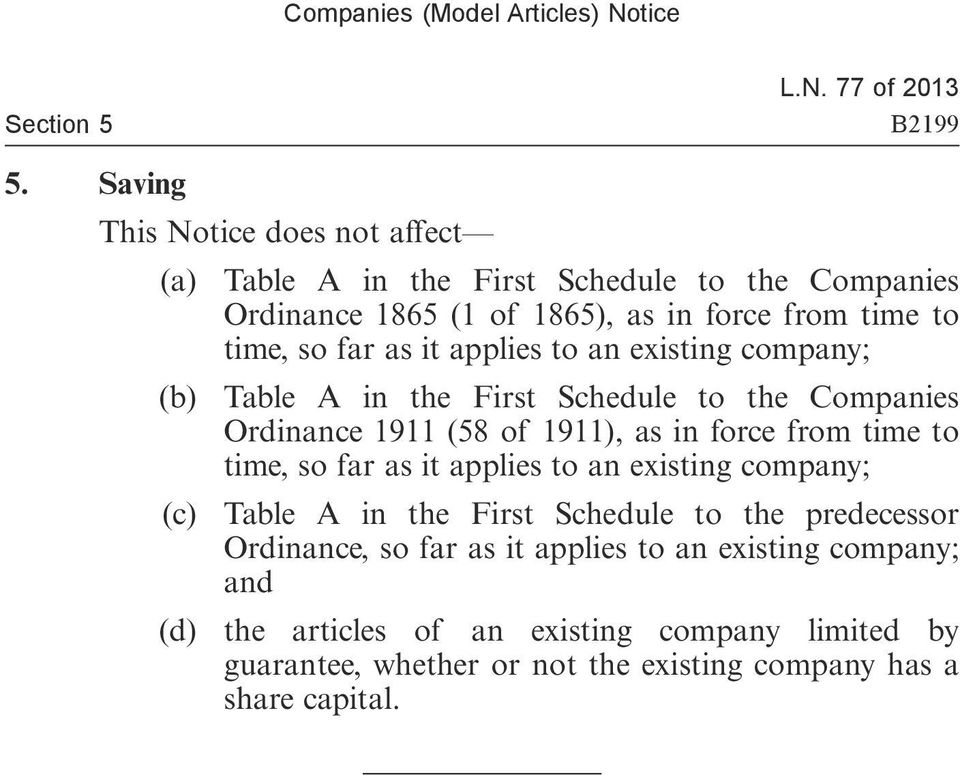 far as it applies to an existing company; (b) Table A in the First Schedule to the Companies Ordinance 1911 (58 of 1911), as in force from time to