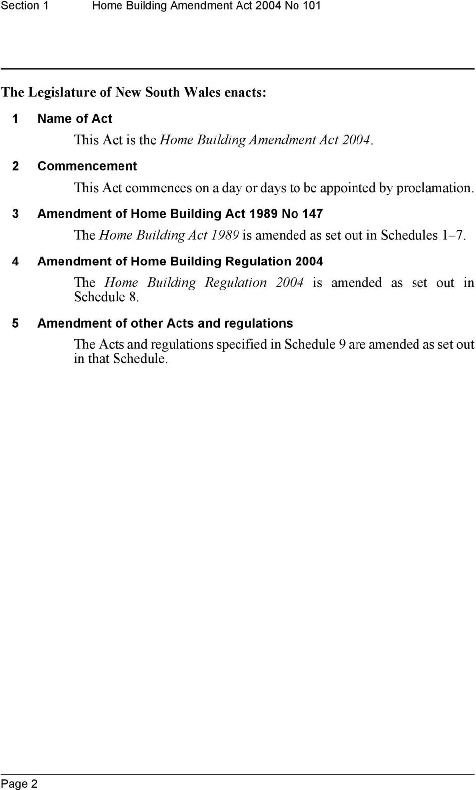 3 Amendment of Home Building Act 1989 No 147 The Home Building Act 1989 is amended as set out in Schedules 1 7.