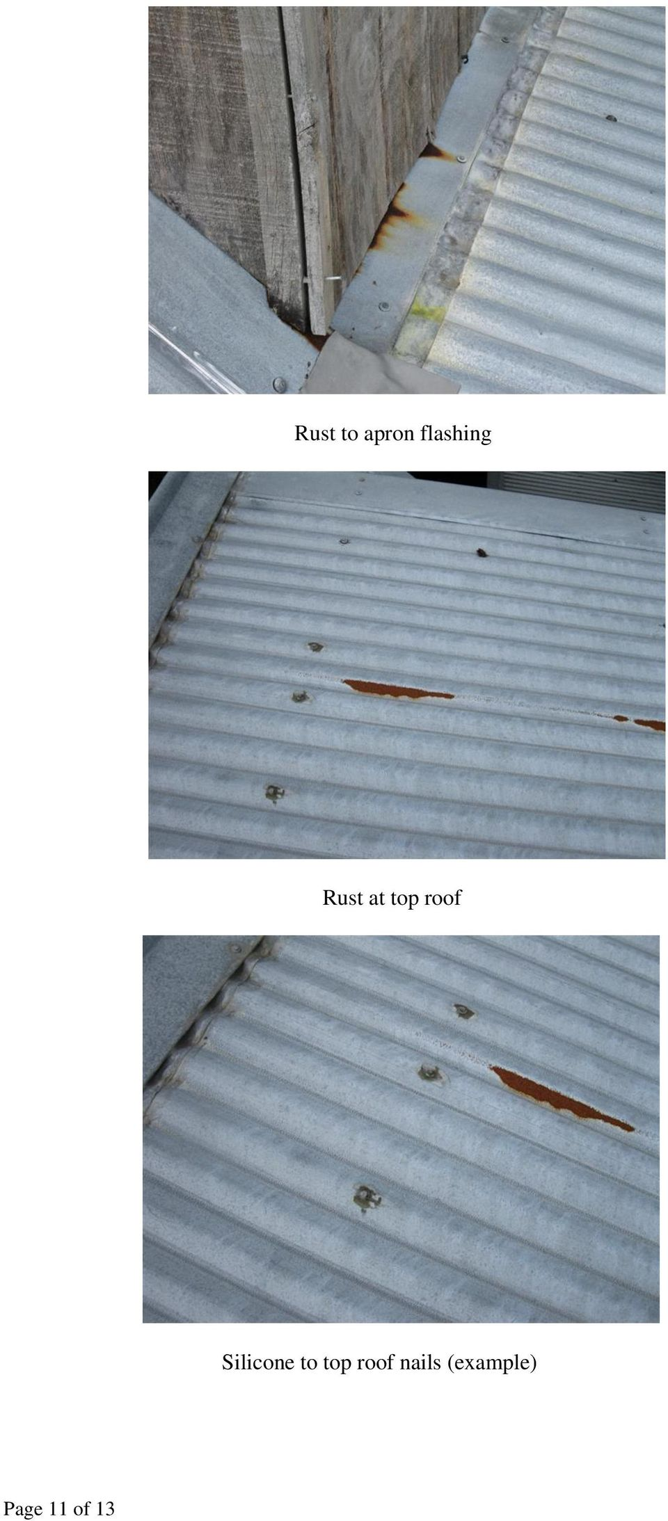 Silicone to top roof