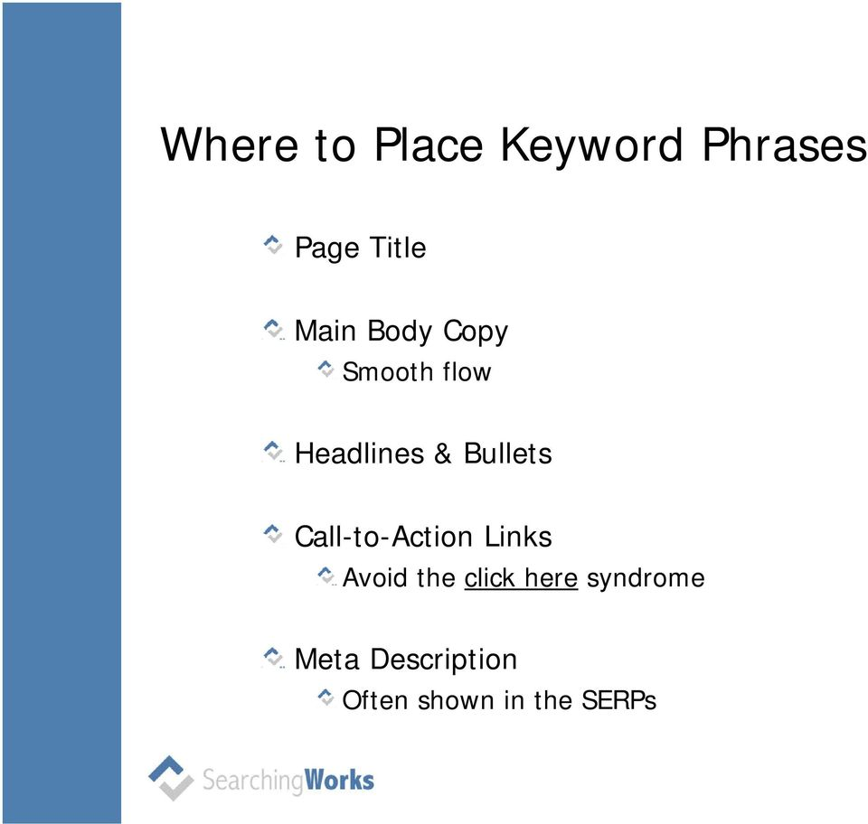 Bullets Call-to-Action Links Avoid the click