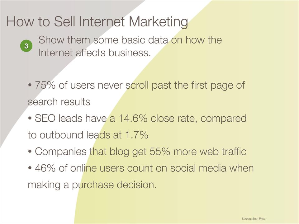 75% of users never scroll past the first page of search results SEO leads have a 14.