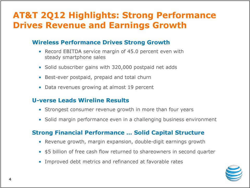 percent U-verse Leads Wireline Results Strongest consumer revenue growth in more than four years Solid margin performance even in a challenging business environment Strong Financial