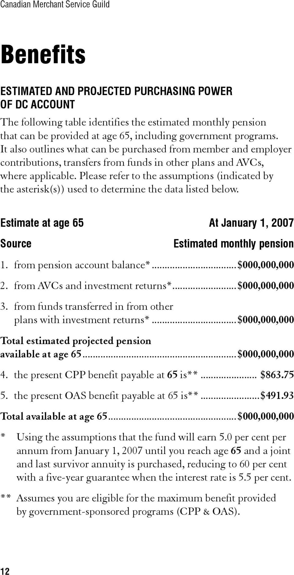 Please refer to the assumptions (indicated by the asterisk(s)) used to determine the data listed below. Estimate at age 65 At January 1, 2007 Source Estimated monthly pension 1.