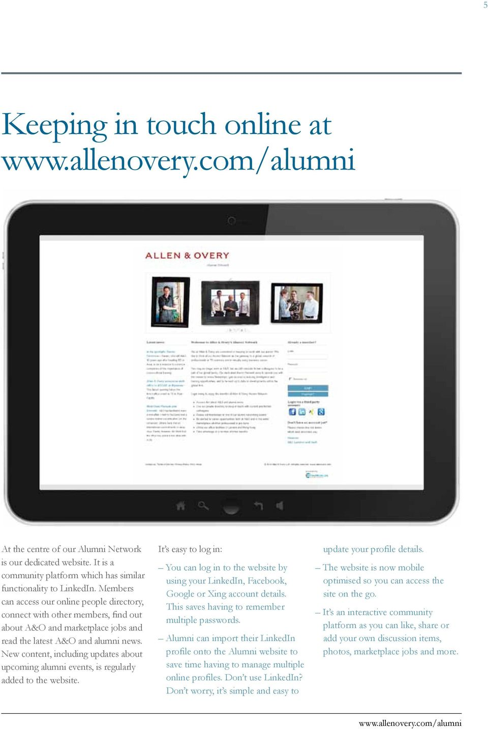 New content, including updates about upcoming alumni events, is regularly added to the website.