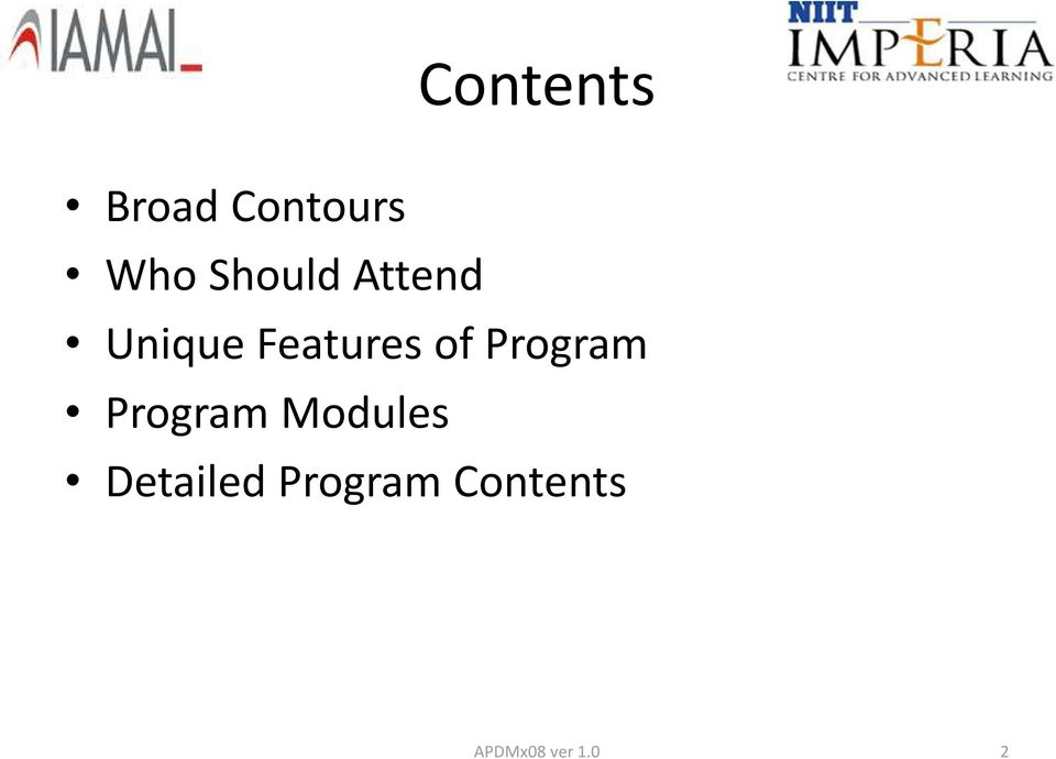 Features of Program Program