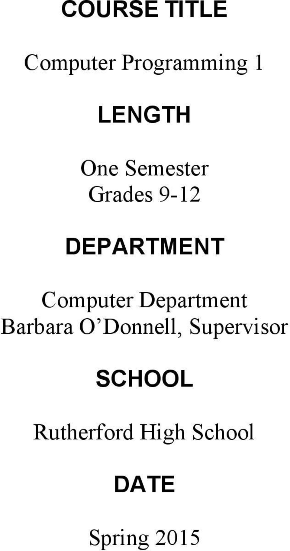 Computer Department Barbara O Donnell,