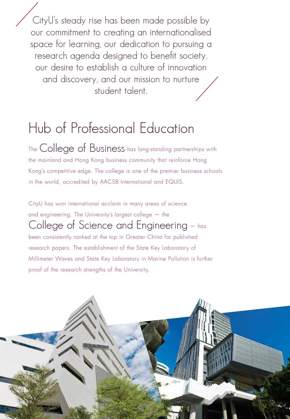 Hub of Professional Education The College of Business has long-standing partnerships with the mainland and Hong Kong business community that reinforce Hong Kong s competitive edge.