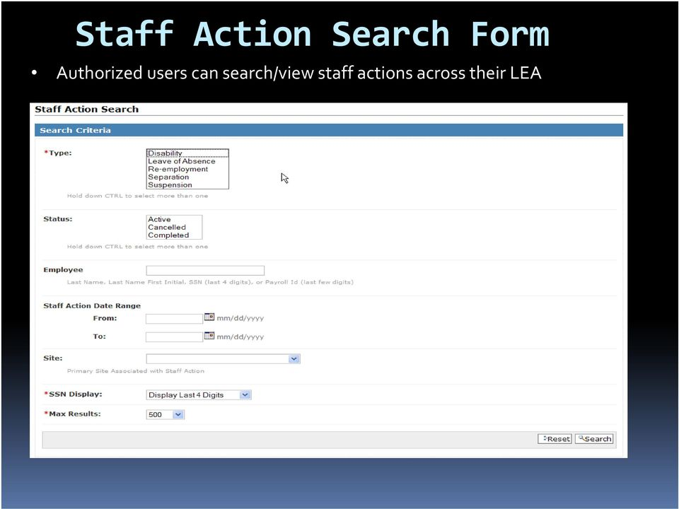 can search/view staff