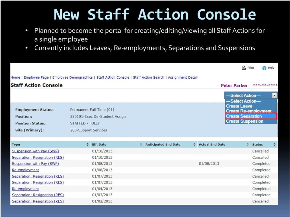 Actions for a single employee Currently includes