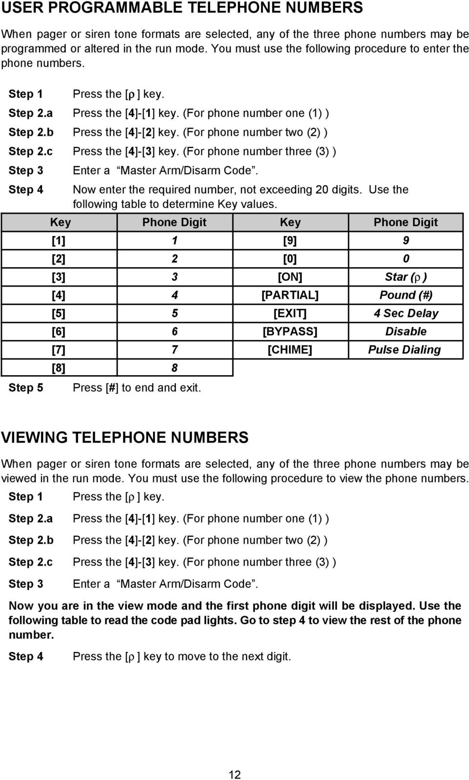 c Press the [4]-[3] key. (For phone number three (3) ) Step 4 Step 5 Enter a Master Arm/Disarm Code. Now enter the required number, not exceeding 20 digits.