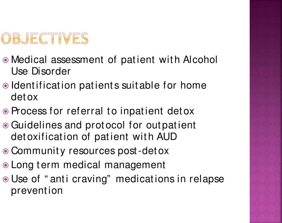 protocol for outpatient detoxification of patient with AUD Community resources