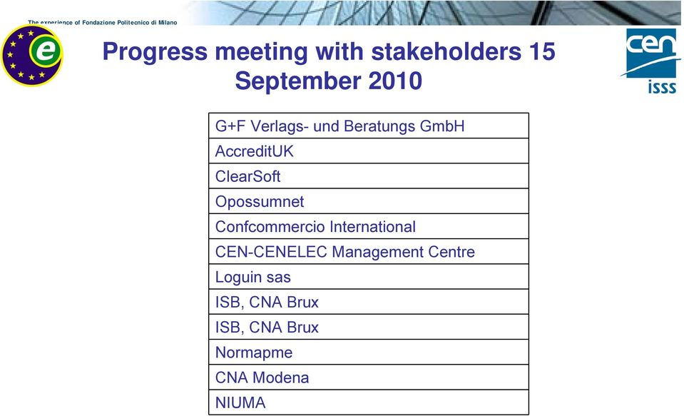 Confcommercio International CEN-CENELEC Management Centre