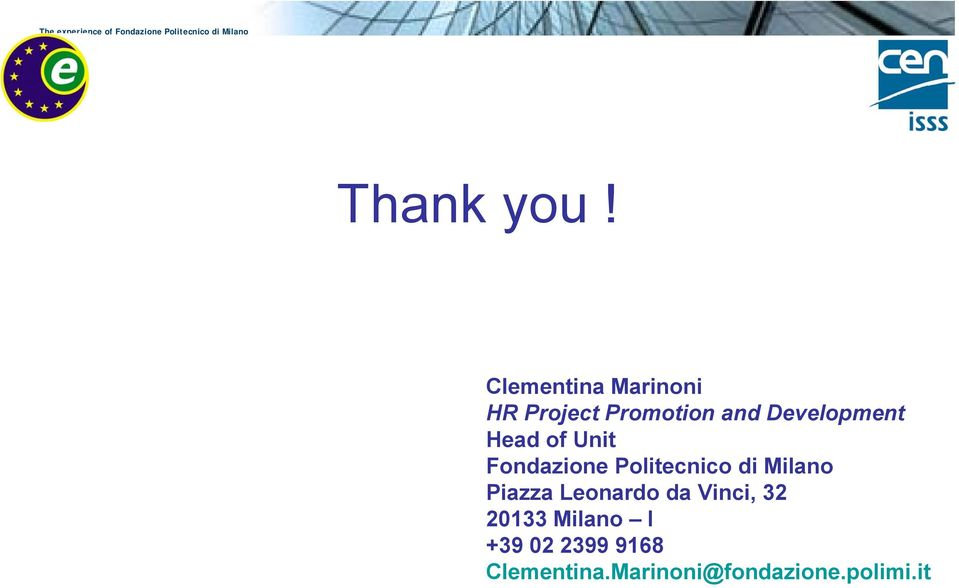Development Head of Unit Fondazione Politecnico di