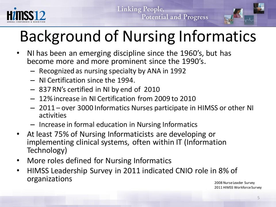 837 RN s certified in NI by end of 2010 12% increase in NI Certification from 2009 to 2010 2011 over 3000 Informatics Nurses participate in HIMSS or other NI activities Increase in