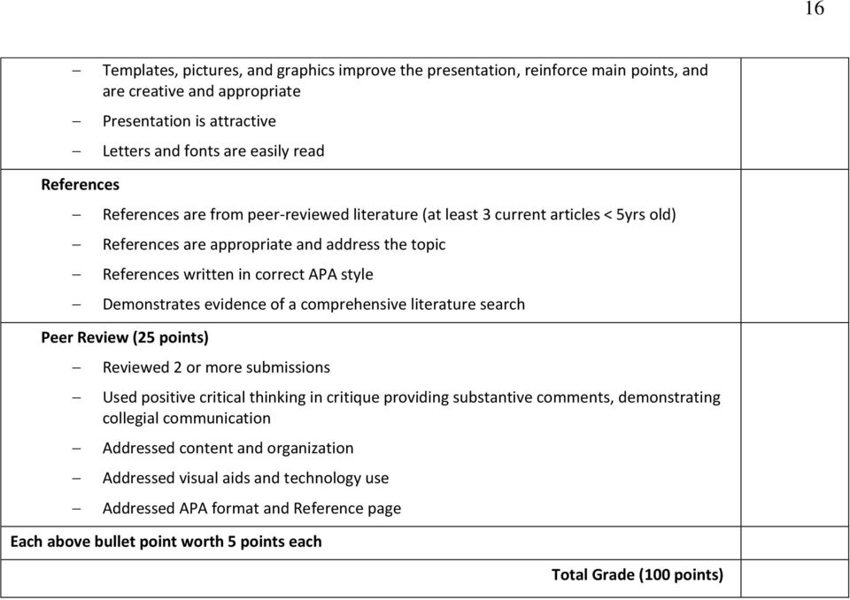 evidence of a comprehensive literature search Peer Review (25 points) Reviewed 2 or more submissions Used positive critical thinking in critique providing substantive comments, demonstrating